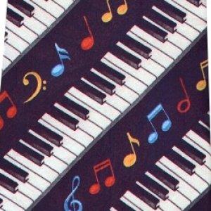 画像1: ネクタイ 鍵盤と音符 <H>